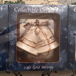 🎄 NWT Gold Accented Christmas tree decorations